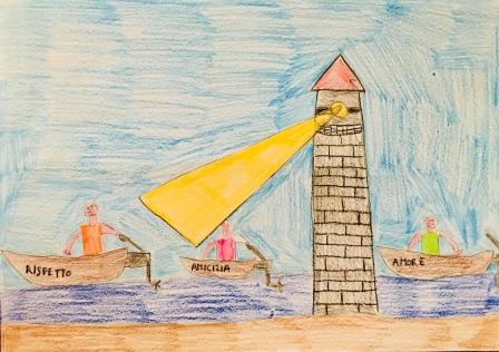 01 disegno-murano-scuola-cerutti-progetto-ponte-educativo-mediterraneo-venezia-pesce-di-pace classe quarta