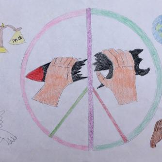 013 foto disegno 5^A elem collegio arcivescovile trento scuola 2019 pesce di pace PONTE EDUCATIVO MEDITERRANEO