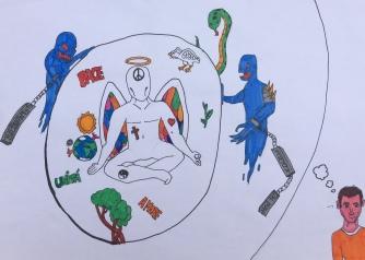 023 foto disegno 5^A elem collegio arcivescovile trento scuola 2019 pesce di pace PONTE EDUCATIVO MEDITERRANEO