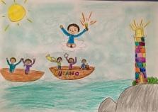 04 disegno-murano-scuola-cerutti-progetto-ponte-educativo-mediterraneo-venezia-pesce-di-pace classe quarta