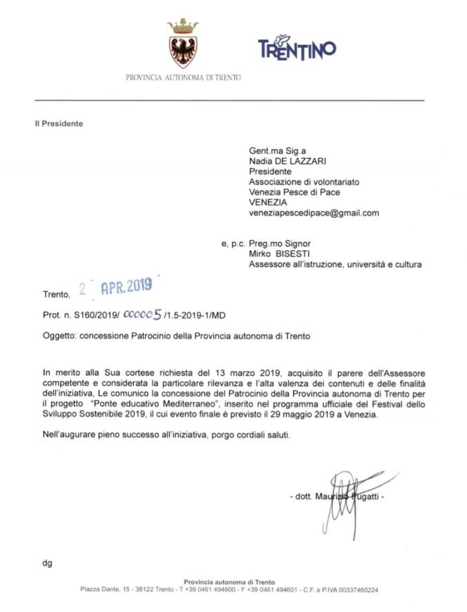 lettera 2019 Provincia Autonoma Trento patrocinio Venezia Pesce di Pace Ponte Educativo Mediterraneo