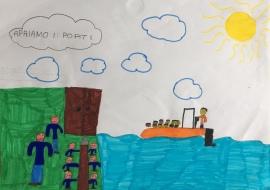 024 Venezia Istituto Cavanis padri Dorsoduro scuola disegni Progetto Ponte Educativo Mediterraneo pesce di pace - classe quarta