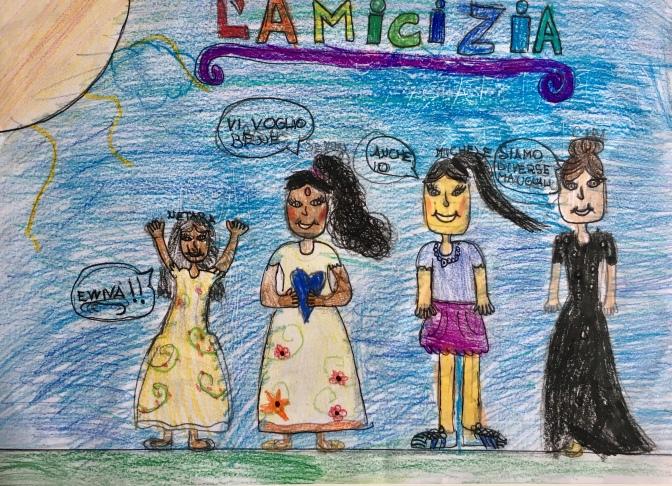 026 Venezia Istituto Cavanis padri Dorsoduro scuola disegni Progetto Ponte Educativo Mediterraneo pesce di pace - classe quarta