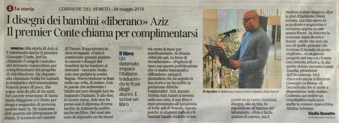 CORRIERE DEL VENETO 24 maggio 2019 - Progetto Aziz - Venezia Pesce di Pace.png